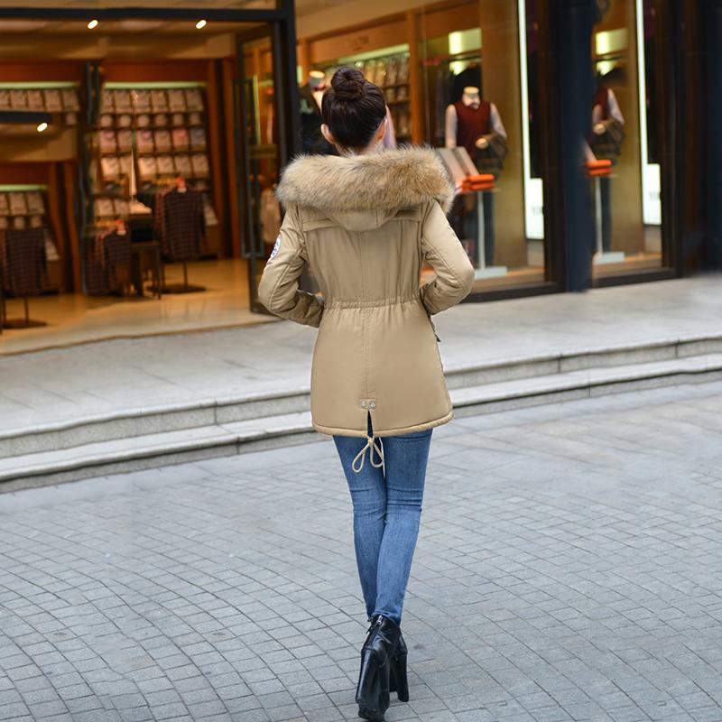Adjustable Waist Women Parkas Big Pockets Fur Hooded Long Coats Female Outwear Cotton Warm Winter Ladies Jackets Coat MDEW541 10