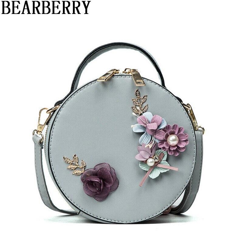 Bearberry 2017 Handmade Flower Round Handbag Crossbody