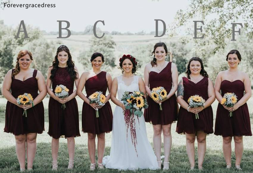 Cheap Burgundy   Bridesmaid     Dresses   2019 A Line Summer Beach Country Garden Wedding Party Guest Maid of Honor Gowns Plus Size