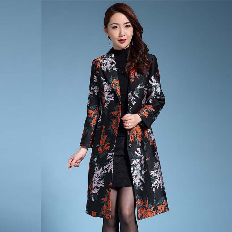 Plus size S-5XL 2017 Trench coat women o-Neck jacquard outerwear dobby women's trenches mother cloth Flower coat trenches
