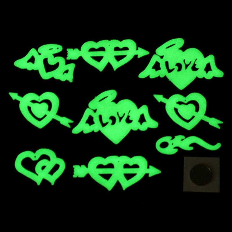 SAILEROAD 9Pcs/Bag Cupid's Arrow Luminous Stickers Stereo 3D Fluorescent Romantic Heart Sticker Glow In The Dark Stars For Kids