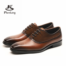 Genuine cow leather brogue Wedding shoes mens casual flats vintage handmade oxford for men black brown 2019 spring
