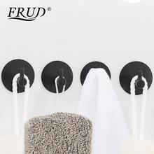 FRUD Stainless Steel Black Painting Towel Hooks 4pcs Wall Mounted Coat Hanger Round Sase Bathroom Accessories Set Modern