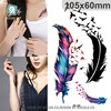 harajuku waterproof temporary tattoos for lady women Beautiful 3d colours feather design tattoo sticker Free Shipping RC2239