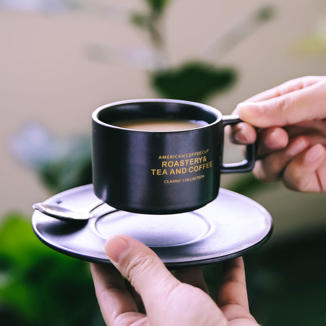 Italian Condensed Coffee Ceramic Cup Saucer Suit Afternoon Tea Small With Dish Spoon