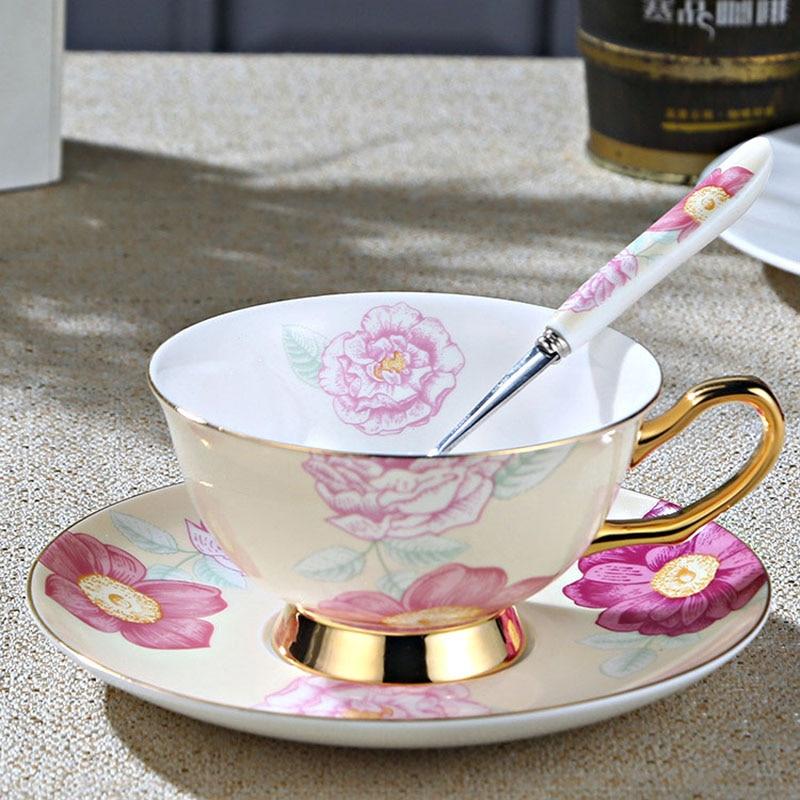 Набор керамических чашек для кофе GLLead, в европейском стиле, модные костяные китайские чайные чашки и блюдца