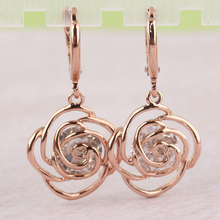 Free shipping Fashion New  Women/Girl's  Gold Plated White  CZ Stone Flower Dangle Earrings Gift Jewelry women big drop earrings rhodium plated with cz stone romantic style fashion jewelry high quality free shipment
