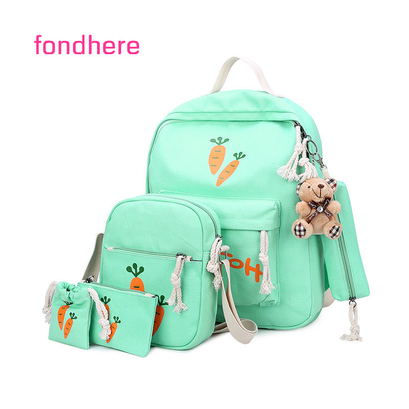 fondhere 5 Pcs/set Wome Backpack Set Carrot Printing School Bag For Teenager Girls Canvas Travel Backpacks Set With Cute Bear