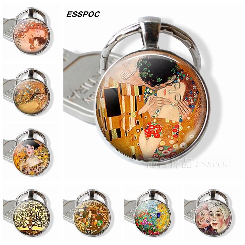 Gustav Klimt Keychain Klimt's The Kiss,Fulfillment, Water Serpents,tree Of Life,farm Garden Glass Dome Metal Key Chain For Women