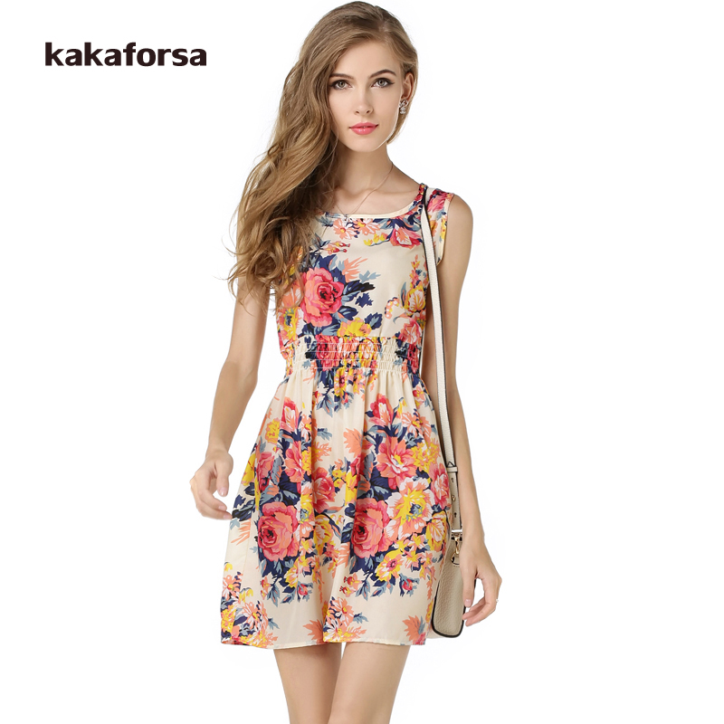 Kakaforsa Girl Flower Print Beach Dress Sexy Summer Vestidos High Waist Empire Chiffon Plus Size Cloth Loose Sundress ...