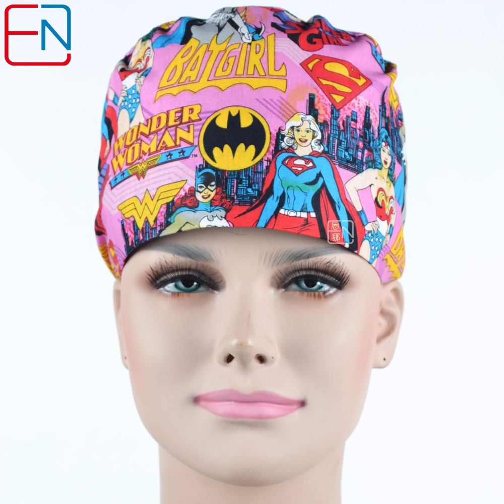 Hennar Hennar Women Medical Surgical Caps Men Cotton Print Dentist Caps Masks Unisex High Quality Pet Doctor Hats Mask