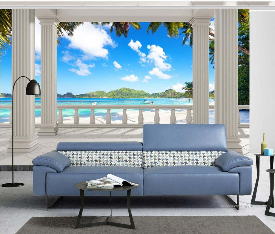 3d Nature Wallpapers Balcony Beach Tree Sea View Mural 3d
