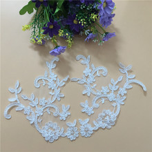 1Pair 2018 New Embroidered Lace Patch Polyester Embroidery Applique Fabrics High Quality Sewing Accessories For Clothes