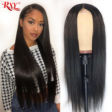 RXY pelucas de cabello humano para mujeres negras pelucas de cabello humano recto brasileño prearrancado 13x4 Remy peluca con malla frontal