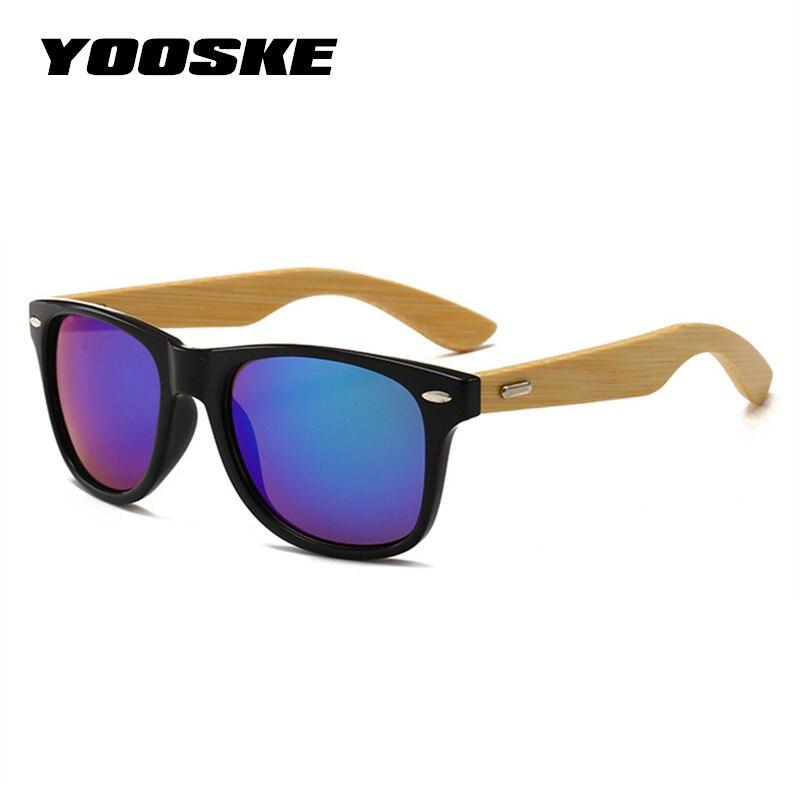 YOOSKE Vintage clásico gafas de sol de madera hombres mujeres espejo reflectante lente gafas de sol de bambú gafas