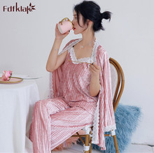 Fdfklak 새로운 가을 겨울 잠옷 여성 긴 소매 벨벳 따뜻한 잠옷 여성 잠옷 세트 달콤한 레이스 nightwear pijamas