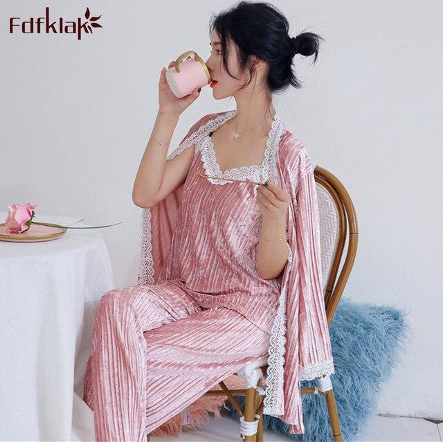 Fdfklak ใหม่ฤดูใบไม้ร่วงชุดนอนฤดูหนาวผู้หญิงแขนยาวกำมะหยี่ชุดนอนผู้หญิงชุดนอนลูกไม้ชุดนอน pijamas