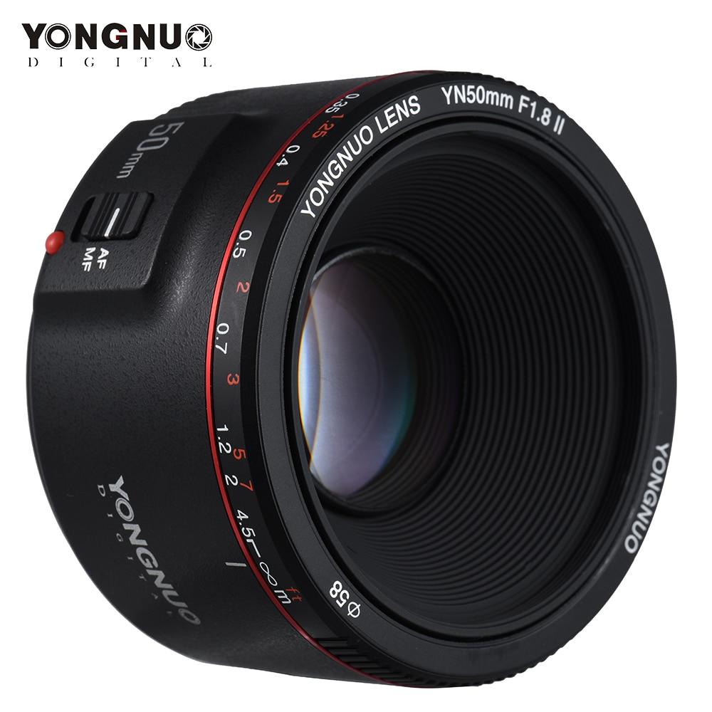2018 YONGNUO YN50mm F1.8 II фиксированный объектив для Canon AF/MF большой апертурой металлическое Крепление фокус 50 мм объектив для Canon 600D 1300D DSLR