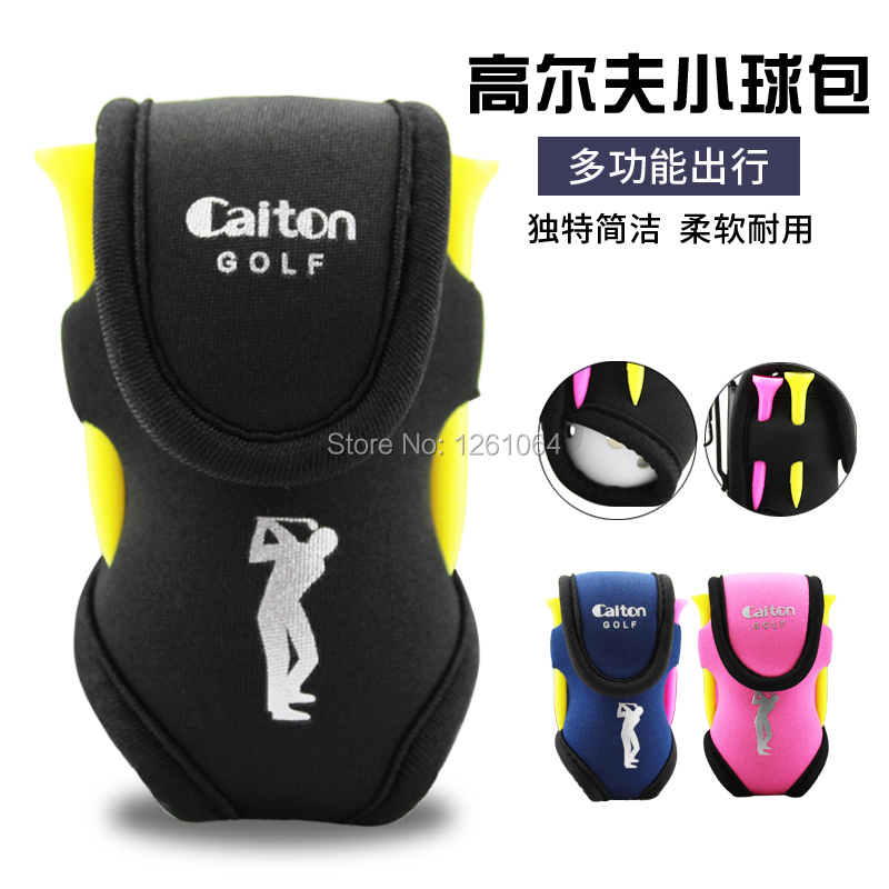1pcs Small golf bag mini bag Holder Waist Bag With Hook Elastic Pouch 2 Balls 4 Tees 3 colors free shipping pink blue black