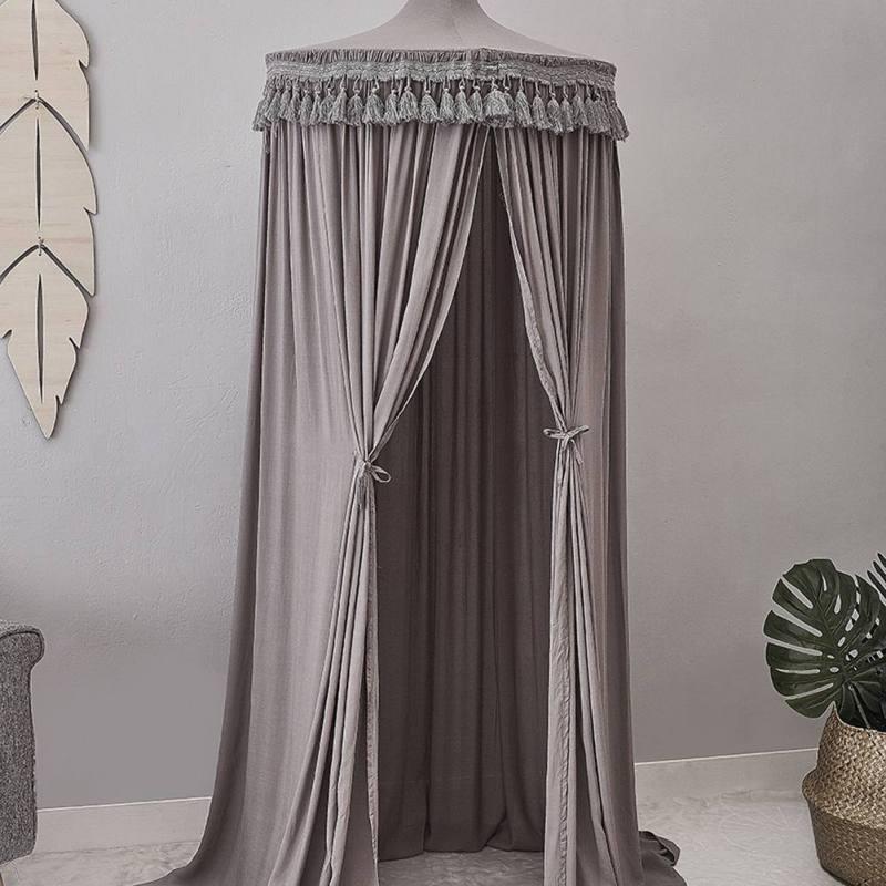 Accessoires de photographie de chambre nordique fournitures rideau de lit en coton suspendu dôme princesse moustiquaire avec décoration en macramé et dentelle