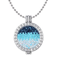 Frame Pendants For Women Free Shipping Wholesale Vintage DIY Blue Crystal Coin Fashion Locket Necklace
