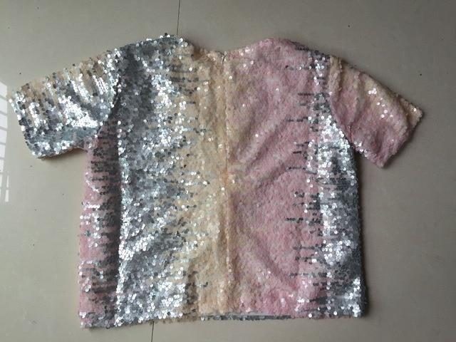 Women Sequin T-Shirt 2020 Hot Sale Summer Short Sleeves Tops Gradient Color Sequins Female Loose Tees T Shirt Pink 8