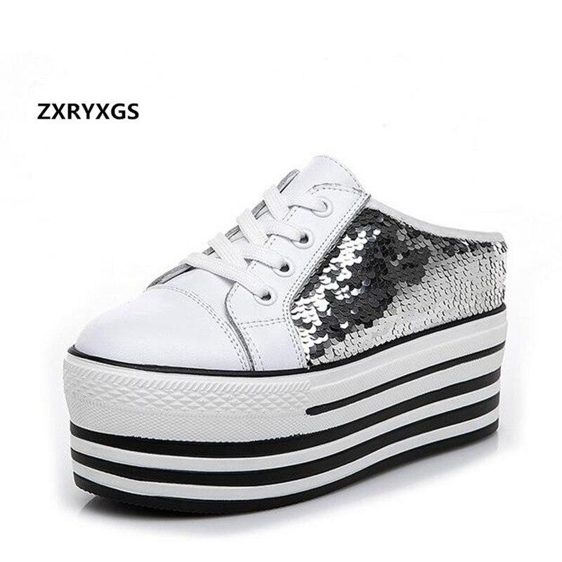 7ae73325ed798e Femme Blanc 2019 Paillettes À Chaussures Compensées Sandales Baotou Épais  Babouches Fond Vachette Semelles Pour Femmes D'été ...