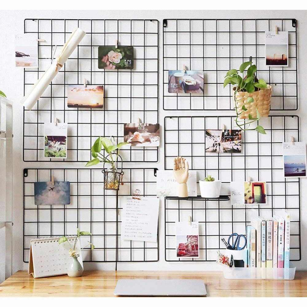 Wall Grid Metal Grid Wall Mesh Grid Hanging Photo Frame Bedroom Living Room Iron Multi Frame Photos Storage Rack Metal Decorative Grid