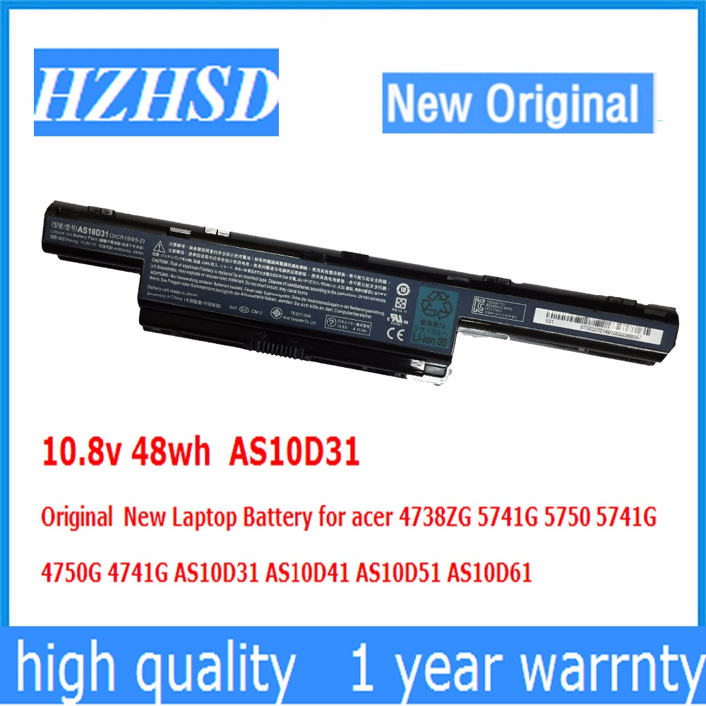 10.8v 48wh AS10D31 Original  New Laptop Battery for acer 4738ZG 5741G 5750 5741G  4750G 4741 AS10D31 AS10D41 AS10D51 AS10D6110.8v 48wh AS10D31 Original  New Laptop Battery for acer 4738ZG 5741G 5750 5741G  4750G 4741 AS10D31 AS10D41 AS10D51 AS10D61