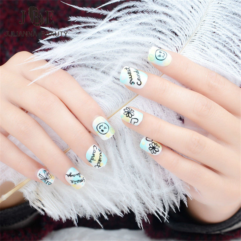 24pcs/set Children Acrylic Full Cover Nail Tip False Nail Art With Glue Color Printing Smile Face Fake Nail Tips Fingernails New To Suit The PeopleS Convenience Beauty & Health