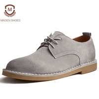 Maden 2018 Spring Summer Cow Suede Men Casual Shoes British Style Leisure Brogue Shoes High Quality