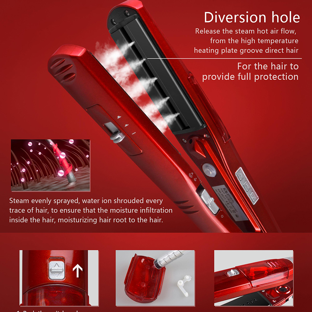 New Steam Comb Straightening Irons Automatic Straight Hair Brush Steam Flat Iron Electric Ceramic Hair Straightener Tools 2018 the newest argan oil steam hair straightener flat iron injection painting 450f straightening irons hair care styling tools