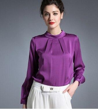 The new tide of high grade heavy silk shirt long long sleeve shirt women mulberry silk 2