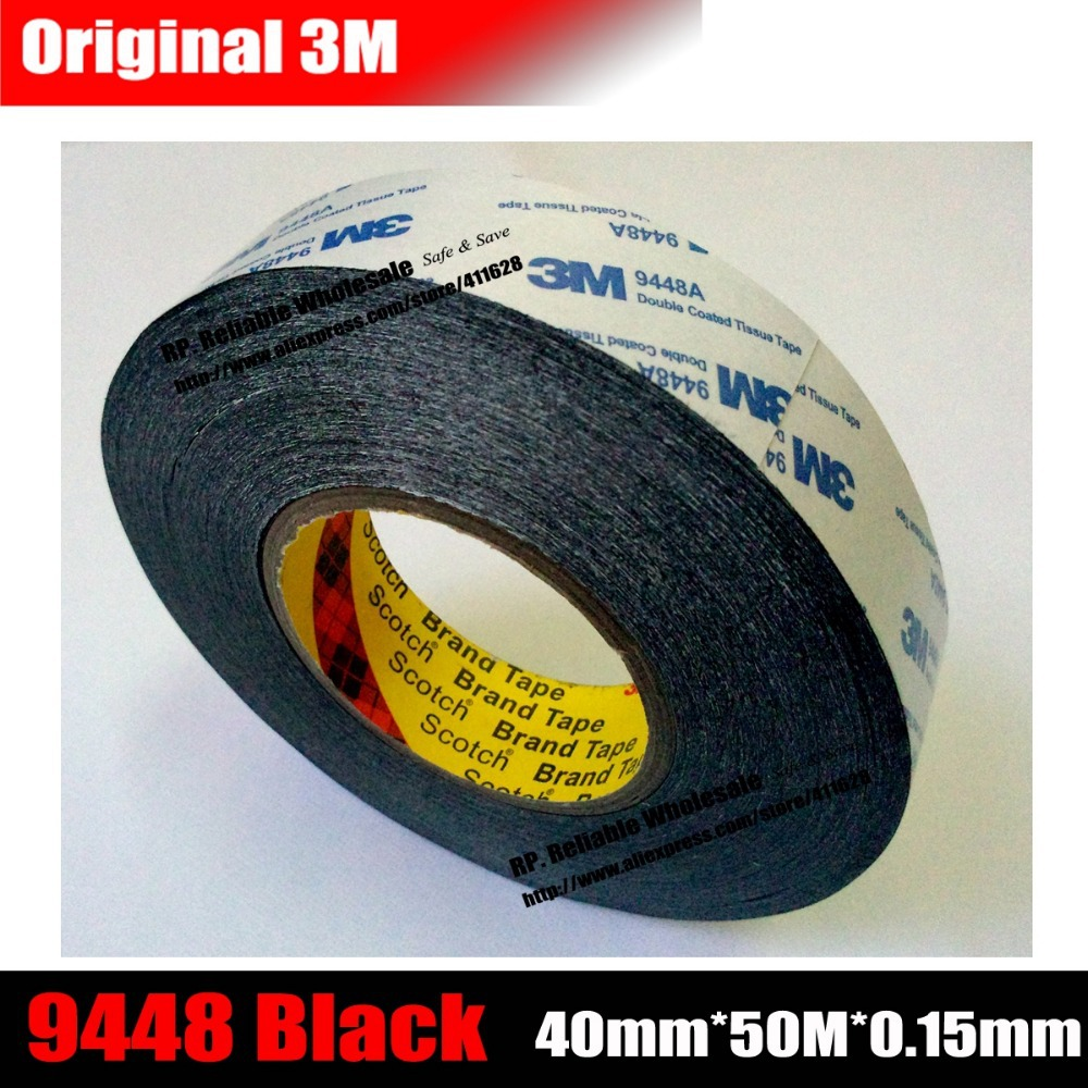 (40mm * 50 meters) 3M Acrylic Double Sided Adhesive Tape for LED LCD /Touch Screen /Display /Pannel /Housing /Case Repair Black 50 meters roll 0 2mm thick 2mm 50mm choose super strong adhesive double sided sticky tape for cellphone tablet case screen