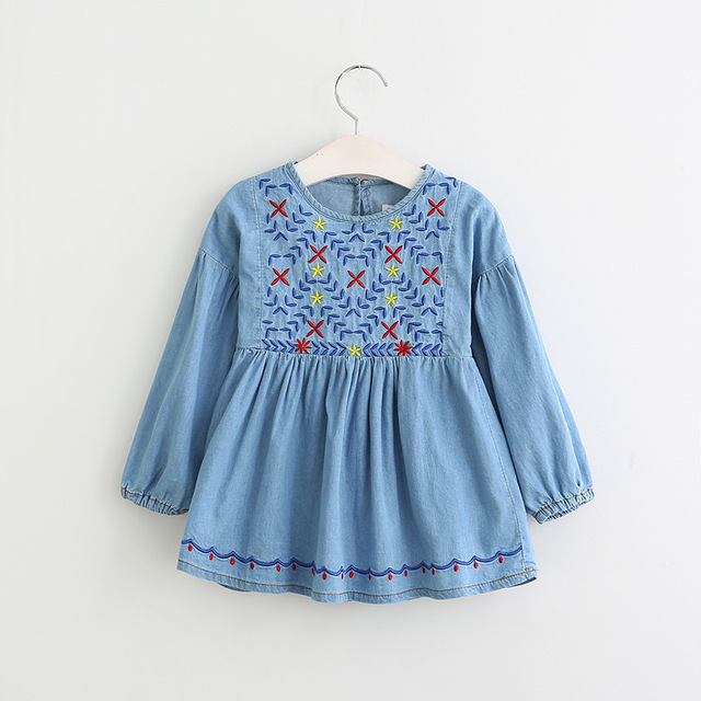 2017 New Girls Floral Embroidered Vintage Denim Dress Ruffles Spring Long Sleeve Fashion Party Dresses
