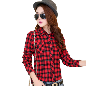 2016 Hot New Fashion Plus Size Blouses 100% Cotton Flannel Plaid Shirt Women Long Sleeve Casual Shirt Girl's Red Tops 21 Colors Women Shirts