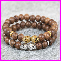 charms fragrance material  gold silver plated skull head natural color 8mm ancient tree wood wodden beads men's bracelet