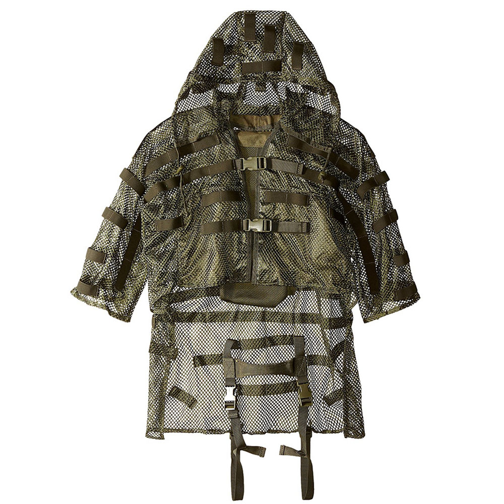 Nylon Mesh Breathable Tactical Ghillie Clothes Back With 3L Water Bag Pocket Outdoor Hunting Detachable Hooded