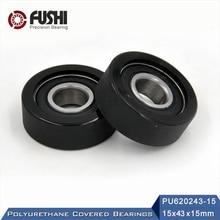 Covered-Bearing 6202 Shaft Urethane-Cover 15mm PU 2pcs 15--43--15-Mm