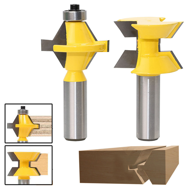 2PCS/Set 1/2 Shank Woodworking Router Bit 120 Degree Tenon Cutter Plywood Router Bit Woodworking Groove Chisel Cutter Tool new luthier tool electric violin purfling groove cutter q1