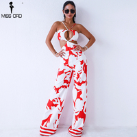 Missord 2018 Sexy Sleeveless Backless Hollow Out Print Jumpsuit FT9318