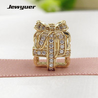 Openwork Gift Charms 14K Solid Gold Beads Fit 925 Sterling Silver Bracelets DIY For Womem Christmas