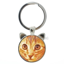 Vintage Orange Cat photo glass cabochon key chain ring animal charm cat ear keychain lovers gift present for Christmas CN187