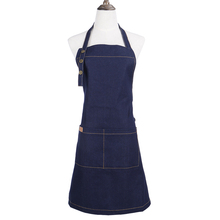 New Korean fashion denim apron Cotton cowboy unisex pinafore Kitchen coffee shop work aprons Antifouling apron for cooking apron