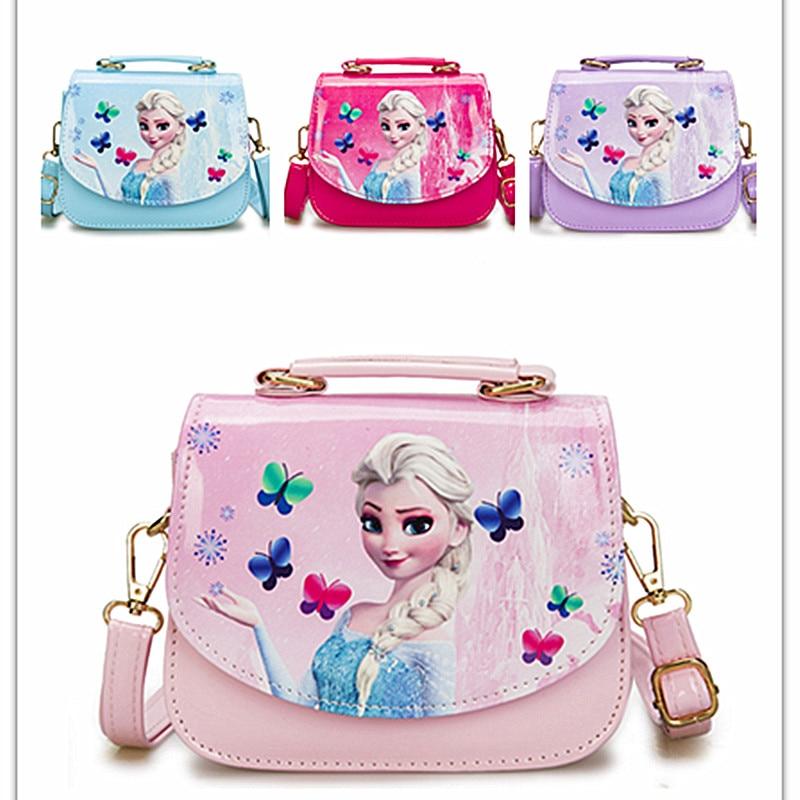 Disney Cartoon Lovely Girls Frozen Handbag Cartoon PU Princess  Bag Fashion Glitter Magnetic Button Bags