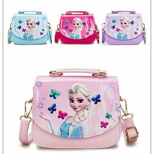 Disney Cartoon Mooie Meisjes Bevroren Handtas Cartoon Pu Prinses Tas Mode Glitter Magnetische Knop Zakken(China)