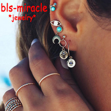 Bls-miracle Bohemian Blue Evil Eyes Earrings Set For Women Design Vintage Brincos Stone Female Party Gift Jewelry 2018