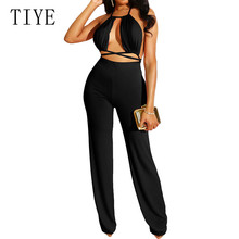 TIYE Sexy Backless Lace Up Bodycon Jumpsuit Women Deep V Neck Sleeveless Party Club Bodysuit Summer Skinny Playsuits Overalls цена