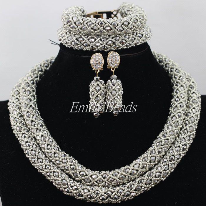 2015 Women African Jewelry Sets 2 Rows Crystal Beads Jewelry Set Fashion Nigerian Wedding Necklace Jewelry Set AIJ266 ювелирный набор jimore 2015 whol women fashion jewelry