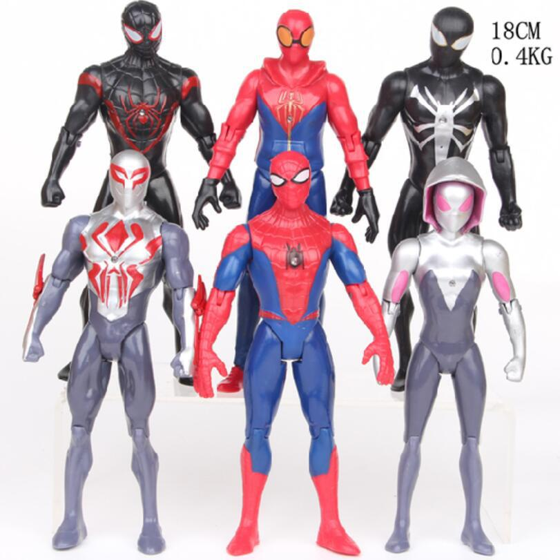 18 CM Movie SpiderMan Homecoming Gwen Stacy Spider Woman Spider Man With Led Light Cartoon Toy Action Figure Model Doll Gift